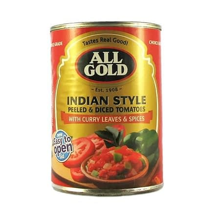 a can of all gold peeled and diced tomato indian style 410g
