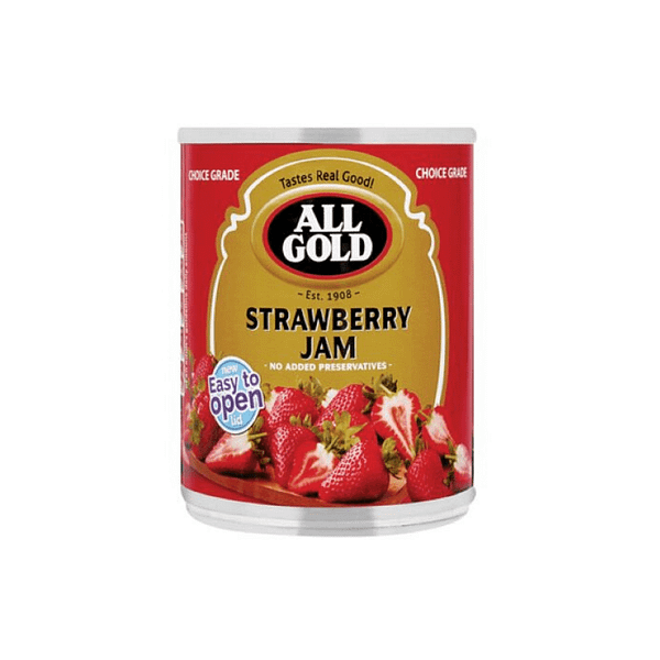 a can of All Gold Strawberry Jam 450g