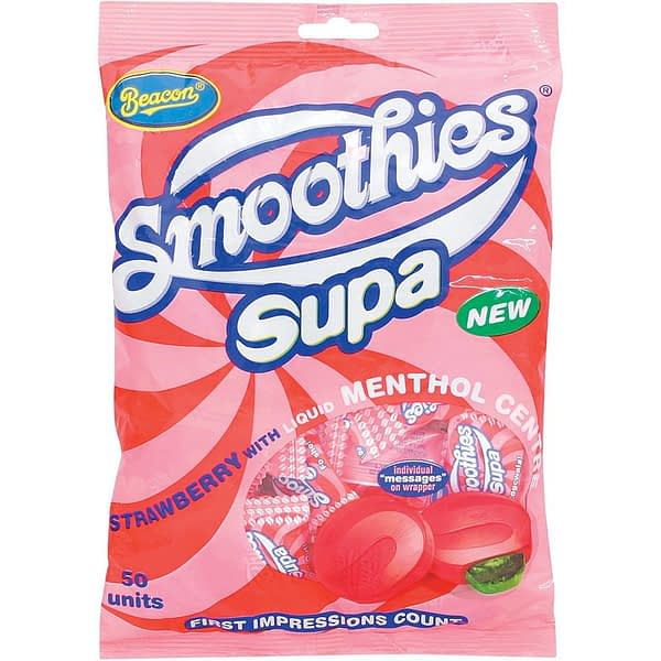 a bag of beacon smoothies supa strawberries